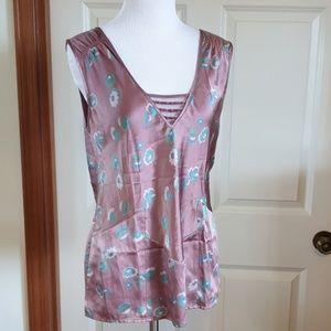 MARC JACOBS pink blue floral silk blouse